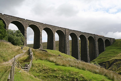 A train of empty gypsum containers passes over Arten Gill viaduct. 19/8/13