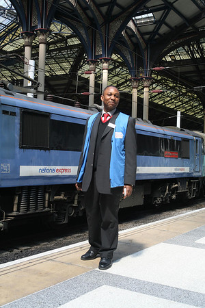 To be honest, I was more interested in the locomotive but this chap (at Liverpool Street station) was very keen for me to take his picture. Manday, his name was...