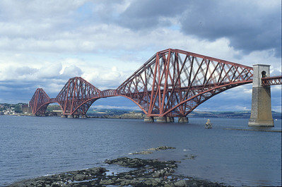 The Forth Bridge in 1992 (with no sign of any painting going on).