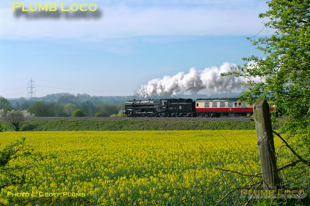 "On its first revenue earning run since its return from overhaul, BR Standard 4-6-2 No. 70000 ""Britannia"" is running in plain black BR livery without its nameplates. It is passing Cholsey Manor Farm with 1Z71, ""The Cathedrals Express"", 09:22 from Oxford to Canterbury and return, a few minutes late at 09:53 on Thursday 7th April 2011. Digital Image No. GMPI8495."