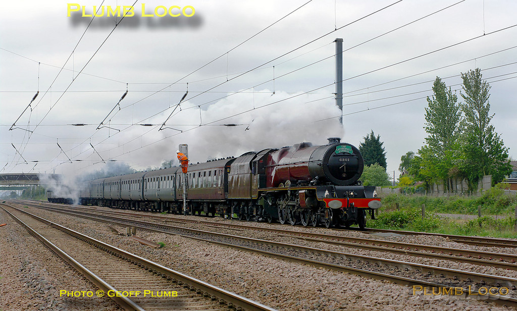 "Stanier ""Princess Royal"" class 8P 4-6-2 No. 6201 ""Princess Elizabeth"" heads north at Langford with 1Z72, ""The Cathedrals Express"", the 09:24 from King's Cross to York and return. The train was running a few minutes late at 10:27 on Thursday 28th April 2011. Photo taken from a public footpath across the line. Digital Image No. GMPI8828."