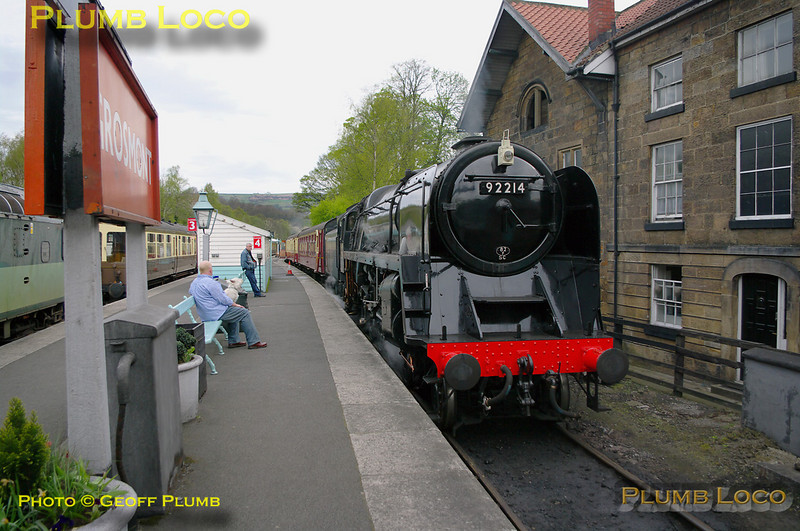 BR Standard 9F 2-10-0 No. 92214 sits in platform 4 at Grosmont awaiting departure time with the 10:30 train to Pickering, 10:22, Monday 11th April 2011. Digital Image No. GMPI8576.