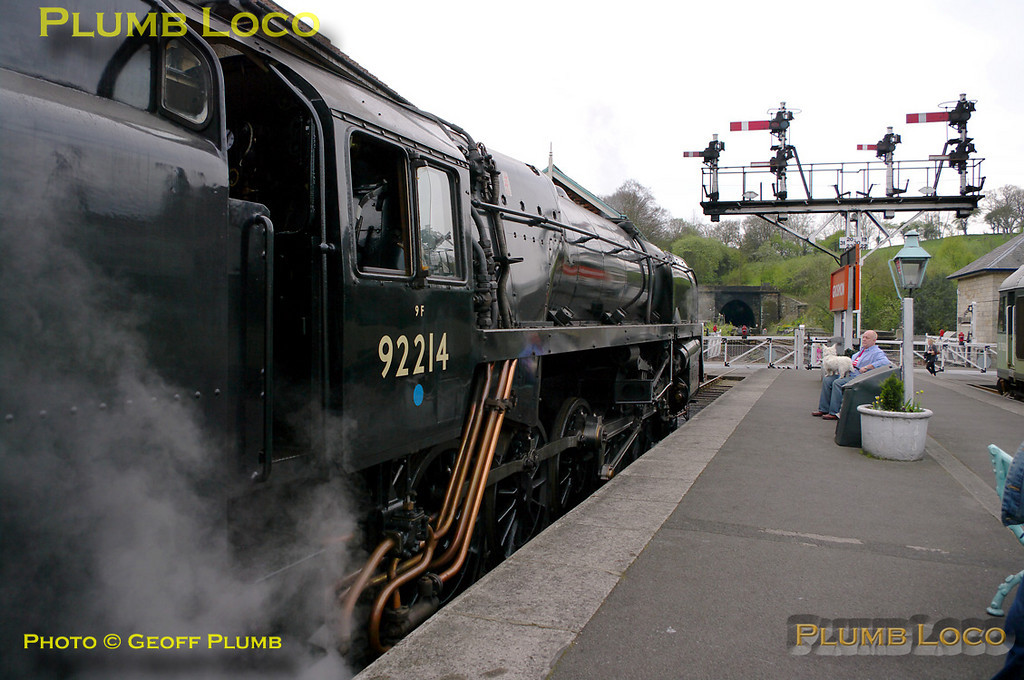 BR Standard 9F 2-10-0 No. 92214 sits in platform 4 at Grosmont awaiting departure time with the 10:30 train to Pickering, 10:23, Monday 11th April 2011. Digital Image No. GMPI8580.