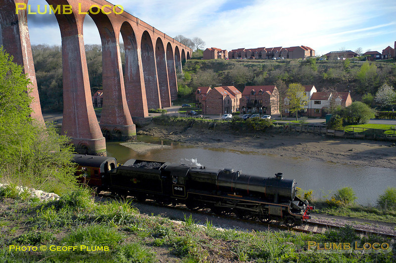 """""""Black 5"""" 4-6-0 No. 45428 """"Eric Treacy"""" passes under Larpool Viaduct alongside the River Esk with the 17:30 train from Whitby to Pickering at 17:31 on Sunday 10th April 2011. Digital Image No. GMPI8574."""