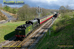 Having run round its ECS earlier 45428 is sitting in the loop south of Goathland station as S15 4-6-0 No. 825 arrives with the 15:00 train from Pickering to Grosmont. 15:43, Monday 11th April 2011. Digital Image No. GMPI8619.