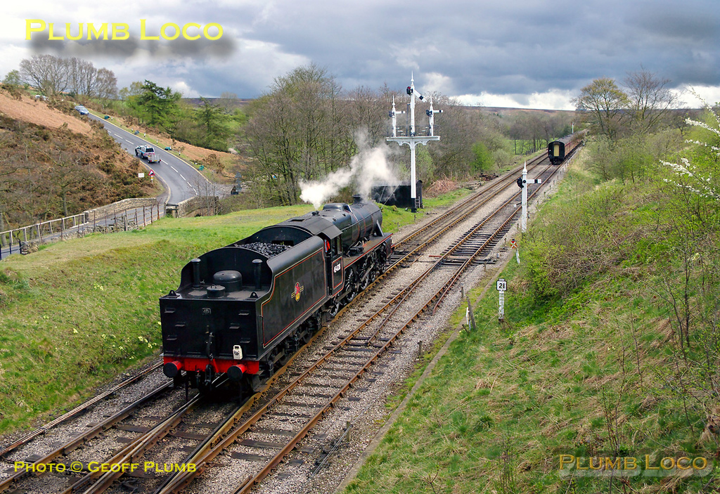 45428 had arrived at Goathland working the 15:10 from Grosmont, which terminates at Goathland. Having taken the stock out into the loop south of the station, the engine is now running round in preparation to form the 16:10 train to Whitby. 15:32, Monday 11th April 2011. Digital Image No. GMPI8605.