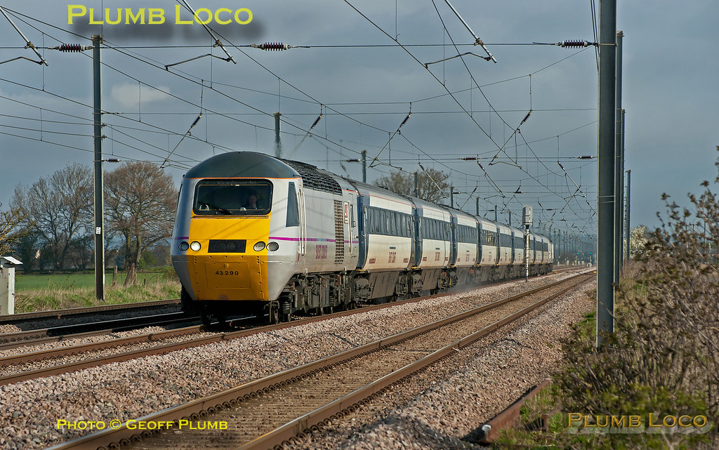 An East Coast HST, with 43290 leading the set, approaching Jigg's Lane foot-crossing at Langford on the up fast line at 09:36 on Wednesday 4th April 2012. This is 1Y14, the 06:00 from Berwick-upon-Tweed to King's Cross. Digital Image No. GMPI11497.