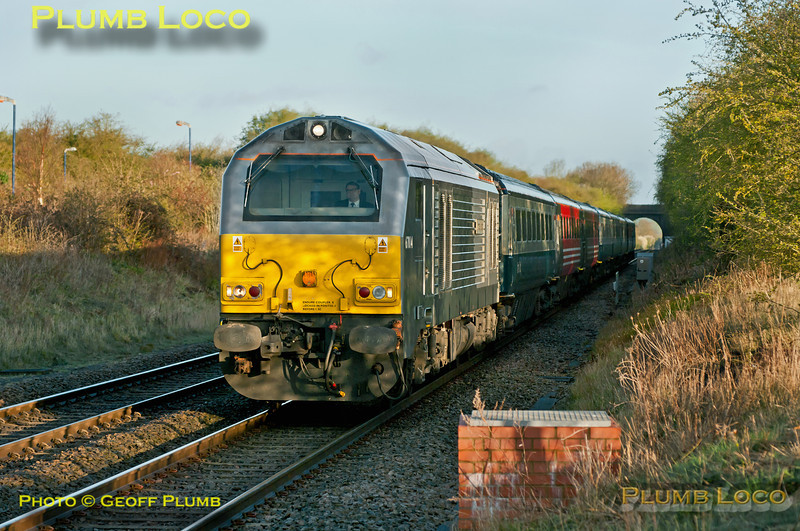 """Chiltern 67014 """"Thomas Telford"""" is approaching Haddenham & Thame Parkway station with 1H08, the 06:53 from Banbury to Marylebone LHCS, running for the first time with newly refurbished DVT No. 82307 in ATW livery on the rear. 07:17, Tuesday 10th April 2012. Digital Image No. GMPI11537."""