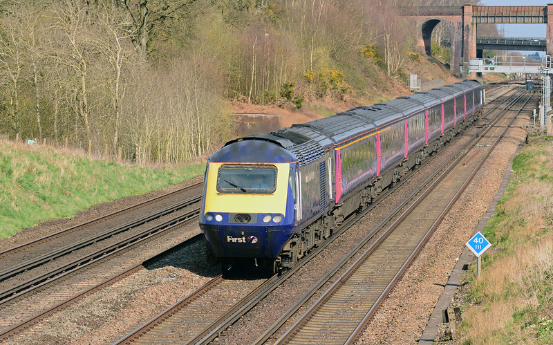 FGW power car 43028 is seen on the SWML at Winchfield, with 1V76 the 15:07 service from London Waterloo-Penzance 06/04/2015.<br /> Diverted this way during the Easter closure of the GWML at Reading.