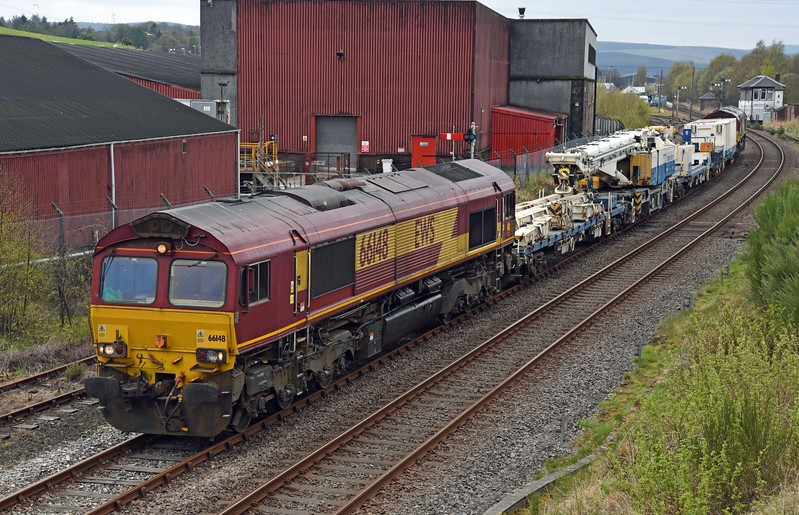 6614 at Keith with the return working of the crane from Elgin to Millerhill on Sunday 30th April