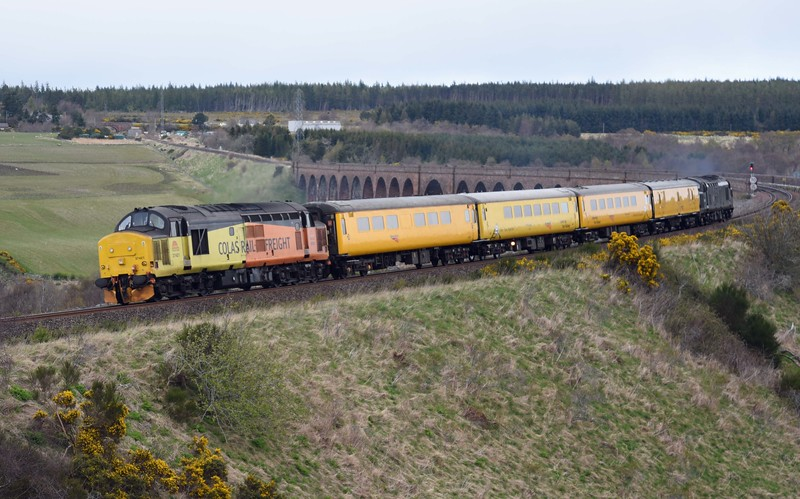 37421 leads test train off Culloden Viaduct on Monday 17th April 2017