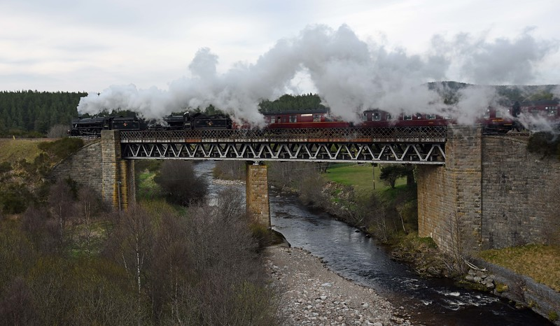 Great Britain X crosses the Carrbridge Viaduct on Sunday 30th April