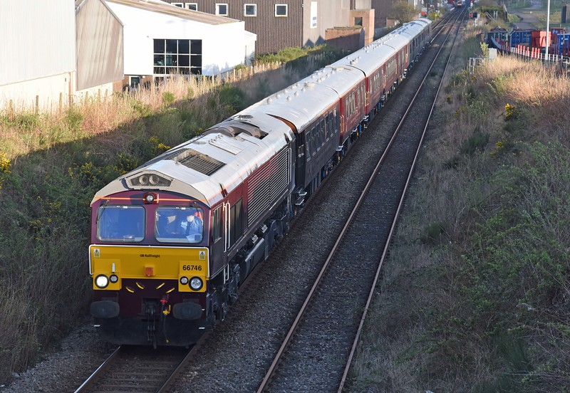 66746 leads the first run of the Royal Scotsman for 2017 out of Dyce on Monday 17th April 2017