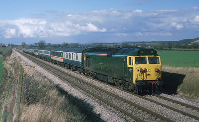 The renaming of this loco from 'Hercules' to 'Sir Edward Elgar' is still controversial today, as 50007 is now preserved. It is seen hammering past Bredicot on the Worcester avoiding stretch with a train for the South West. 1/4/86