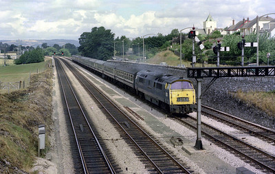 D1058 'Western Nobleman' approaches Aller Junction on 20th July 1976. The signal indicates the train will be heading for Plymouth via Dainton Bank. Dad has fired the shutter at the last possible moment but whether that was his intention, I don't know!