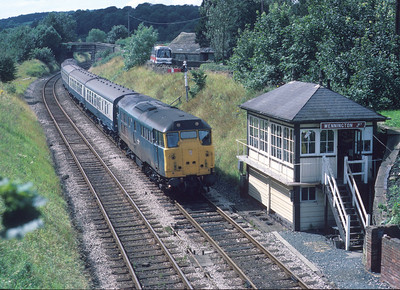 31143 at the former Wennington Jn on the 13.39 Lancaster-Hull service. 13/8/85