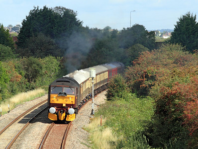 47760 powers away from a signal check on the Weston-super-Mare avoiding line with 1Z62 05.30 Crewe to Kingswear 'The English Riviera Statesman'. 27/08/2011