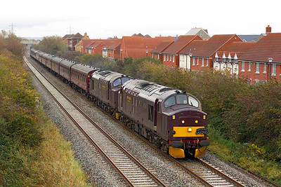37685 'Loch Arkaig' & 37676 'Loch Rannoch' head 'Spitfire Tours' 1Z21 09.25 Preston to Exeter tour along the Weston-super-Mare avoiding line at Locking Castle, Friday 4th November 2011.