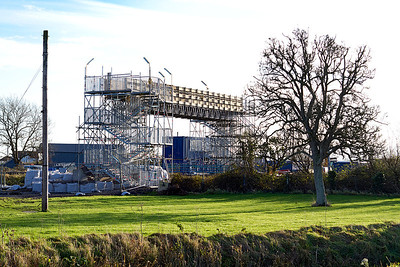 A view of the temporary footbridge built to the east of the road bridge in Wick Road, Hewish. 18th December 2011.