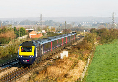 The 07.30 Paddington to Penzance via Bristol FGW HST service passes Lympsham south of Uphill Junction. 12/11/2011.