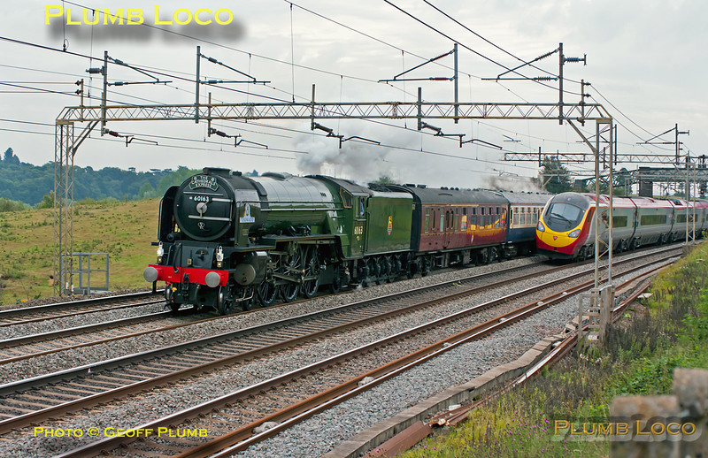 """A close run thing! A Virgin Pendolino is rushing south and just clears in time to see 60163 """"Tornado"""" northbound near Old Linslade, with 1Z88, """"The Cathedrals Express"""" from Euston to Worcester and return. This was running several minutes early at 08:52 on Saturday 6th August 2011. Digital Image No. GMPI9946."""