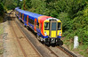 SWT Juniper 458532+502 are seen just outside Wokingham, on test run 5Z12 Reading to Staines up loop 18/08/2014. <br /> The rebuild programme for these units is now running a year late, this due mainly to both Alstom & Wabtec under-estimating the scale & complexity of the work involved. Each unit must complete a thousand miles fault free running before SWT will take delivery for use on passenger trains.