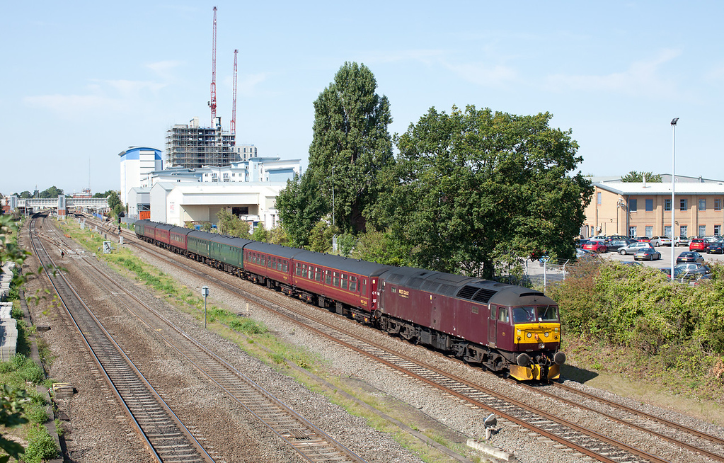 In beautiful Autumn sunshine a rather drab and dirty West Coast class 47, 47245 passes Slough with the 5Z35 10.35 Bristol Kingsland Road-Southall ECS. 3.9.12 ed