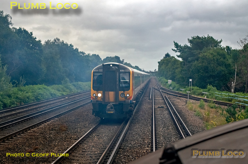 "BLS ""Type 3 to the Sea"", PoV 37669, 444 025, Pirbright Junction, 10th August 2019"