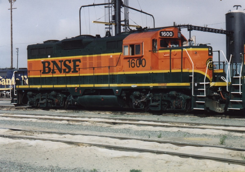 BNSF 1600, a GP9 built for the Northern Pacific in 1954, one of the last BN GP9's on the roster, sits at the engine facility in Richmond, CA. August 2005.