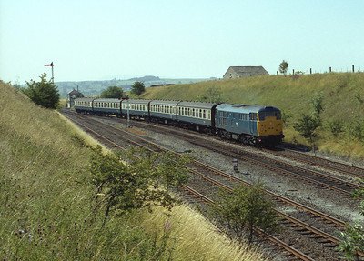 31444 Takes the Carnforth line at Settle Junction on the 08.54 Hull-Lancaster 25/7/84.