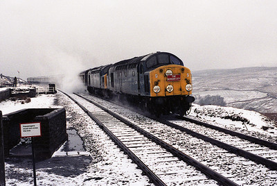"40028+40086 arrive at Garsdale with the ""Border City"" railtour 24/3/84."
