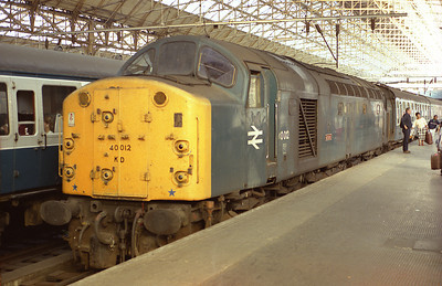 """40012 """"Aureol""""  pictured at Manchester Piccadilly with the 13.24 from Skegness 25/8/84."""