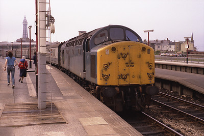40058 is about to leave Blackpool North with the 12.15 summer Saturday train to Newcastle via Manchester 16/6/84.