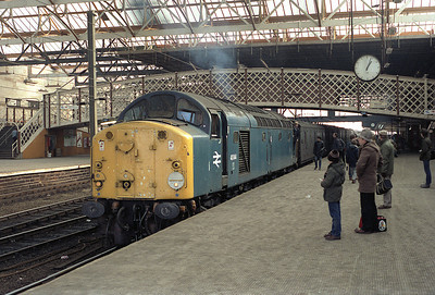 40044 is about to depart Carlisle with the Stranraer vans 18/2/84.