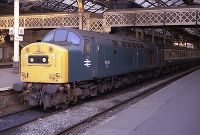 40150 waits to depart Preston with a service to Barrow, July 1984.