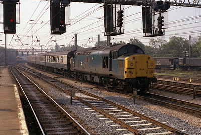 37032 passes Preston with the 07.49 Sheffield-Blackpool 9/6/84.
