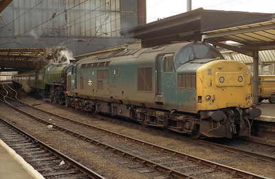 37226 pilots steam loco 2005 on a northbound special at Carlisle 13/6/87.