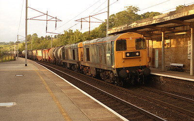 Never a common sight at Oxenholme, 20154+20005 worked a southbound mixed freight on the evening of 30/6/87.