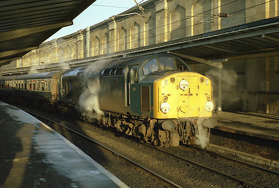 On 5/1/85 just 2 weeks before the end of squadron service, 40118 steam heats the 10.40 to Leeds in Carlisle's platform 6.