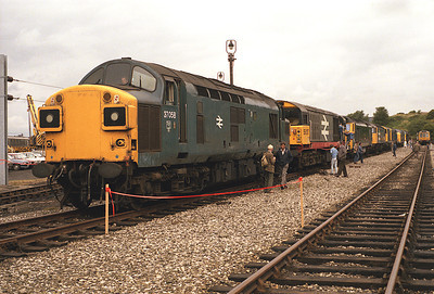 Carlisle Upperby open day 19/7/86: 37058, 58017, 50007, 56130, 20008, 20103, 55019, 40122.