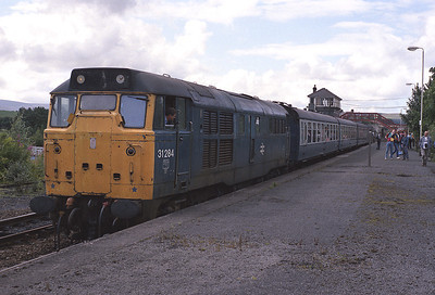 Loco hauled substitutions for DMUs on the Tyne Valley were a regular event for many years.  Here 31284 stands at Haltwhistle with the 12.37 Carlisle-Newcastle 31/8/88.