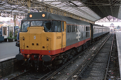 31206 stands at Southport having arrived on the 17.07 from Manchester Victoria 21/7/88.