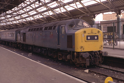 40181 rests at Liverpool Lime Street after arriving with the 13.05 from Birmingham diverted via Chester 11/9/83.