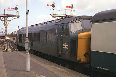 One of two class 46s to visit Blackpool North on 2/7/83, 46047 stands with the 13.25 to York.
