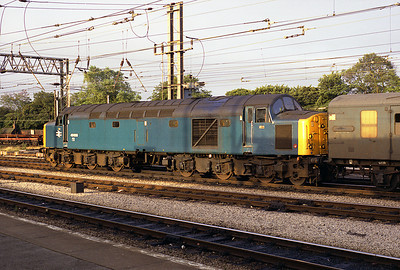 40009 stands at Preston with an early morning van train 30/7/83.