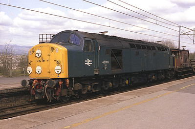 40093 stands at Oxenholme with a train of track panels 24/4/83.
