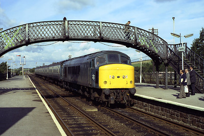 45013 rolls into Appleby with the 10.40 Carlisle-Leeds 22/9/83.