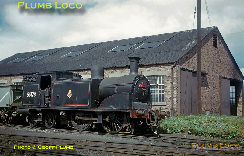 """From the Geoff Plumb collection of original slides. Caledonian Railway """"439"""" Class 0-4-4T No. 55178, designed by McIntosh and introduced in 1900, at Forres, its home shed. It looks as though the engine was still in service at this time, possibly during the summer of 1958, the engine did not survive to be included in the Ian Allan ABC of 1959. Classmate No. 55189 did make it into preservation, restored as CR No. 419. Photographer unknown. 55178 was built at St. Rollox Works in March 1906, withdrawn from Forres shed in December 1958 and scrapped the following year."""