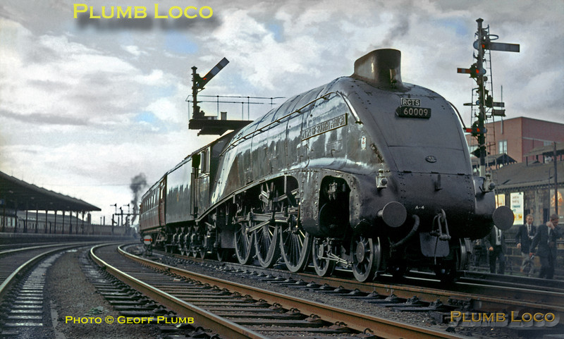 "LNER A4 class 4-6-2 No. 60009 ""Union of South Africa"" pauses at Kilmarnock station with the RCTS ""Scottish Lowlander Railtour"", which it hauled from Niddrie West Junction, Edinburgh, via Glasgow St. John's to Carlisle on Saturday 26th September 1964. Slide No. 1080."