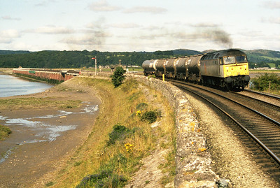 47359 hauls the Saturday morning Kemira tank train at Arnside, 21/8/93.